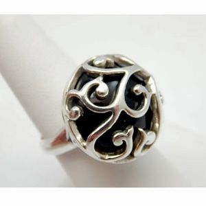 BARSE Onyx Sterling Silver Filigree Overlay Ring